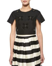 Tibi Beaded-cluster Sateen Crop Top - Lyst
