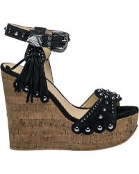 Ash | Bliss Black Suede Wedge Sandal | Lyst