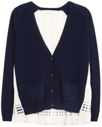 O'2nd - Navy Pleated-back Knitted Cardigan - Lyst