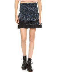 Pam & Gela - Tiered Printed Smocked Silk Skirt - Lyst