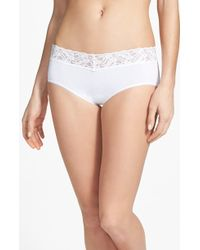 Wacoal 'Cotton Suede' Lace Trim Hipster Briefs - Lyst