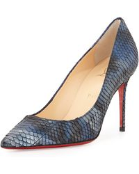 Christian Louboutin Decollete Metallic Snakeskin Point-Toe Red Sole Pump - Lyst