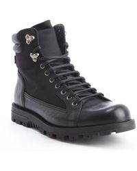 Gucci Black Leather Mesh Accent Lace Up Trek Boots - Lyst