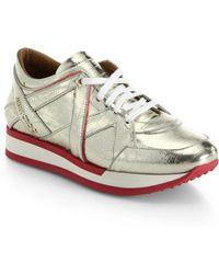 Jimmy Choo London Sporty Metallic Leather Sneakers - Lyst
