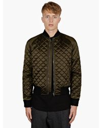 Jonathan Saunders Mens Khaki Quilted Bomber Jacket - Lyst