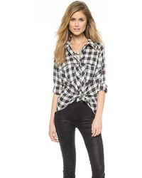 Free People Gauzy Plaid Lace Up Button Down Top - Lyst