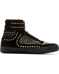 Diesel Black Gold Black Suede Studded High_top Sneakers - Lyst