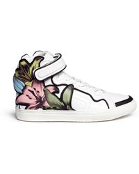 Pierre Hardy Lily Print Patch Leather Sneakers - Lyst