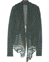 Missoni Metallic Crochet-Knit Hooded Cardigan - Lyst