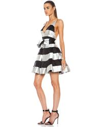Zimmermann Ringmaster Silk Stripe Plunge Dress - Lyst