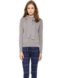 Band of Outsiders - Crew Neck Hoodie With Sleeve Ties - Grey - Lyst