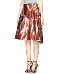 Chictopia - Corn And Leaf Print Flare Skirt - Lyst
