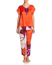 Josie Natori Island Flower Silk Pants multicolor - Lyst