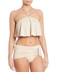 MICHAEL Michael Kors - Cascading Chain Halter Bikini Top - Lyst