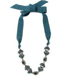 Lanvin Crystal Ribbon Necklace - Lyst