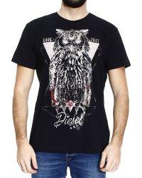 Diesel T-Shirt Owly Half Sleeve Crew-Neck With Owl Print - Lyst