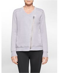 Calvin Klein White Label Performance Waffle Knit Asymmetrical Zip Jacket gray - Lyst