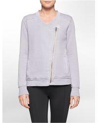 Calvin Klein White Label Performance Waffle Knit Asymmetrical Zip Jacket - Lyst