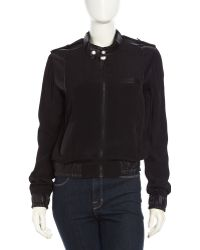 Fade To Blue Faux-Leather Contrast Bomber Jacket - Lyst