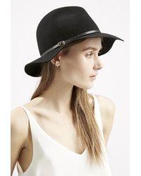 Topshop Skinny Buckle Trim Fedora Hat black - Lyst