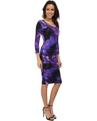 Nicole Miller Fire Flower Rayon Lycra Jersey Dress - Lyst