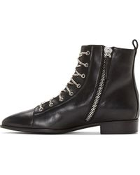 Giuseppe Zanotti Black Leather Silver Chain Lace Ankle Boot - Lyst
