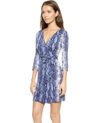 Diane Von Furstenberg New Julian Two Wrap Dress - Python Medium Blue - Lyst