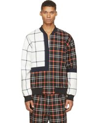3.1 Phillip Lim Orange And Black Quilted Plaid Patchwork Bomber Jacket - Lyst