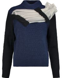 Michael van der Ham - Diana Chiffon-paneled Wool, Cashmere And Silk-blend Jumper - Lyst