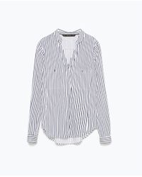 Zara Striped Low-Cut Shirt With Gold Buttons - Lyst