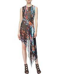 McQ by Alexander McQueen Sleeveless Asymmetric Printed Silk Dress Blurry Light - Lyst