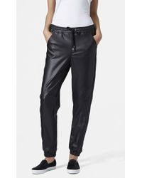 Topshop Paneled Faux Leather Joggers black - Lyst