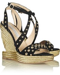 Paloma Barceló Studded Suede Wedge Sandals - Lyst