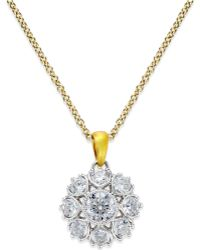 Marchesa | Diamond Pendant In 18k Gold & White Gold (3/4 Ct. T.w.) | Lyst