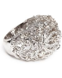 Alexander McQueen Crystal Filigree Dome Ring - Lyst