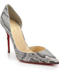 Christian Louboutin Python D'Orsay Pumps gray - Lyst