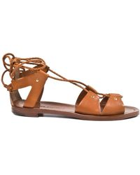 Ralph Lauren Tan Leather Sandals - Lyst