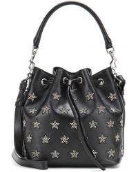 Saint Laurent Emmanuelle Small Embellished Leather Bucket Bag black - Lyst