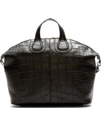 Givenchy Black Croc_embossed Nightingale Tote Bag - Lyst