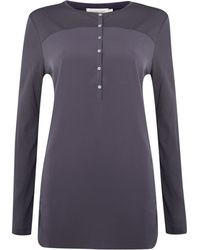 Calvin Klein Long Sleeve Tess Top in Magnet - Lyst