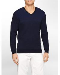 Calvin Klein White Label Striped Cotton V-Neck Sweater blue - Lyst