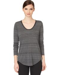 Calvin Klein Jeans Faux Leathertrimmed Heathered Knit Top - Lyst