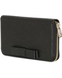 RED Valentino - Bow Leather Zip Around Wallet - Lyst