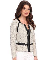 Aryn K. - Knit Jacket W Leather Trim - Lyst