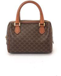 Celine Preowned Dark Brown Macadam Mini Top Handle Bag - Lyst