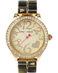 Betsey Johnson Ladies Gold And Black Link Bracelet Watch - Lyst