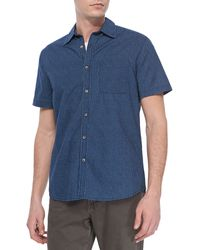 Ag Adriano Goldschmied Dot Print Short Sleeve Shirt Dark Sky - Lyst