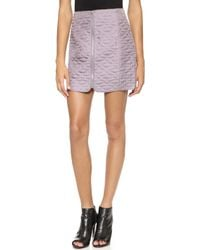 Rebecca Taylor Quilted Miniskirt Grey - Lyst