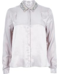 River Island Silver Sateen Embellished Collar Blouse - Lyst