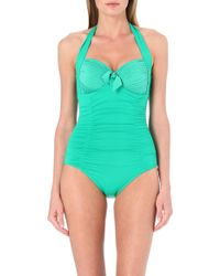 Seafolly Goddess Halterneck Bowdetail Swimsuit Envy - Lyst